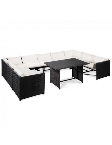 Sodo sofos kompl., 32d., polirat., juodos ir krem. baltos sp.  | Lauko Baldų Komplektai | duodu.lt
