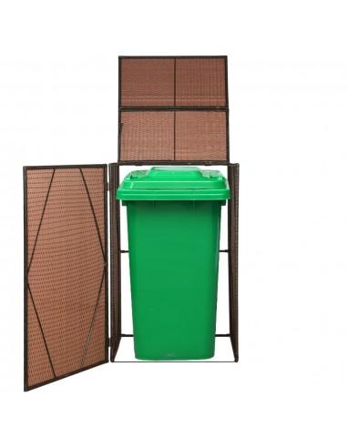 Rat. šiukšliadėž. stoginė, vienv., polirat., 76x78x120cm, ruda | Aptvarai atliekų konteineriams | duodu.lt