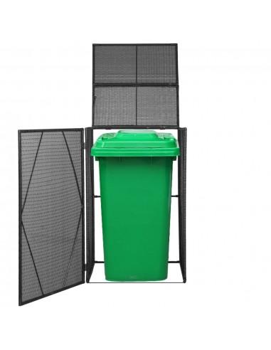 Rat. šiukšliadėž. stoginė, vienv., polirat., 76x78x120cm, juoda | Aptvarai atliekų konteineriams | duodu.lt