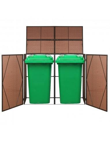 Rat. šiukšliadėž. stoginė, dviv., polirat., 153x78x120cm, ruda   Aptvarai atliekų konteineriams   duodu.lt
