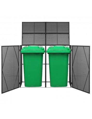 Rat. šiukšliadėž. stoginė, dviv., polirat., 153x78x120cm, juoda | Aptvarai atliekų konteineriams | duodu.lt