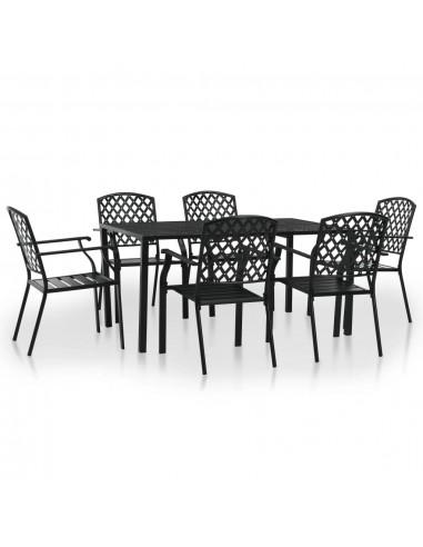 Lauko valgomojo baldų komplektas, 7d., plienas, juodas, tinkl. | Lauko Baldų Komplektai | duodu.lt