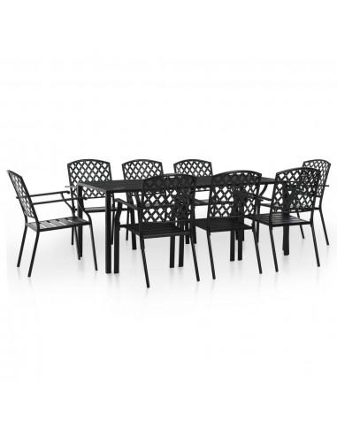 Lauko valgomojo baldų komplektas, 9d., plienas, juodas, tinkl. | Lauko Baldų Komplektai | duodu.lt