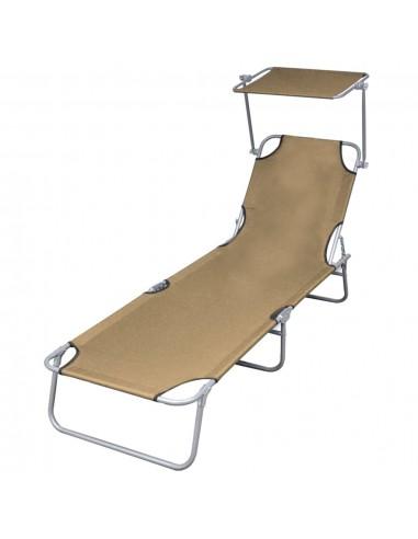Sulankstomas saulės gultas su stogeliu, taupe spalvos | Šezlongai | duodu.lt