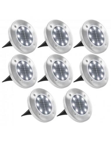 Saulės energ. įkraunami šviestuvai, 8vnt., balt. sp. LED lemp. | Lauko apšvietimas | duodu.lt