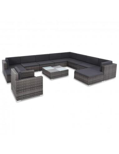 Lauko sofos komplektas, 35 dalių, poliratanas, pilkas | Lauko Baldų Komplektai | duodu.lt