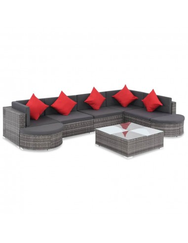 Lauko sofos komplektas, 27d., poliratanas, pilkas | Lauko Baldų Komplektai | duodu.lt