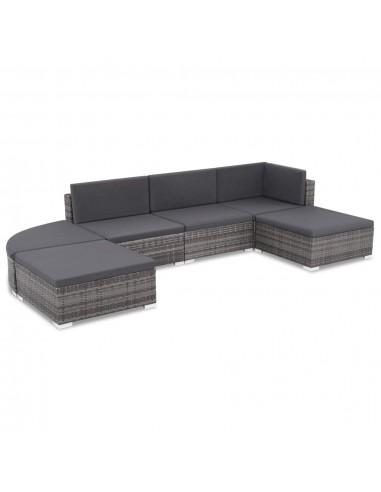 Lauko sofos komplektas, 16 dalių, poliratanas, pilkas | Lauko Baldų Komplektai | duodu.lt