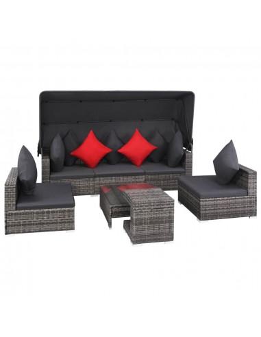 Lauko sofos komplektas, 23 dalių, poliratanas, pilkas | Lauko Baldų Komplektai | duodu.lt