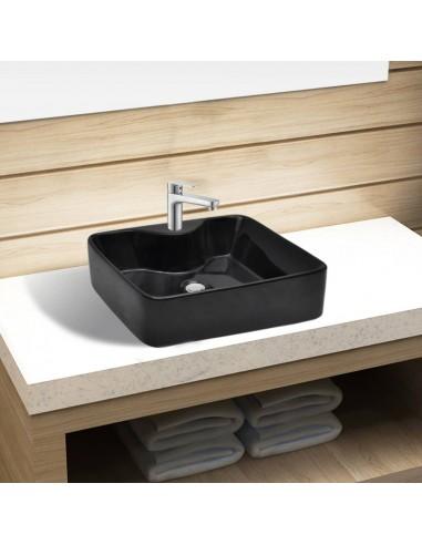 Keramikinis praustuvas su anga maišytuvui, juodas, kvadratinis  | Vonios praustuvai | duodu.lt