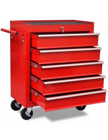 Raudonas Įrankių Vežimėlis Dirbtuvėms su 5 Stalčiais   Vėžimėliai ir Krautuvai   duodu.lt