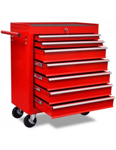 Raudonas Įrankių Vežimėlis Dirbtuvėms su 7 Stalčiais   Vėžimėliai ir Krautuvai   duodu.lt