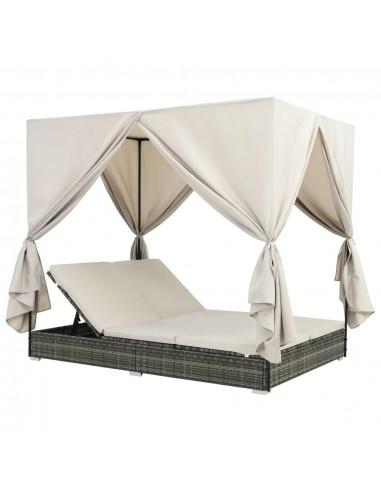 Saulės gultas su užuolaidomis, poliratanas, pilkas | Šezlongai | duodu.lt