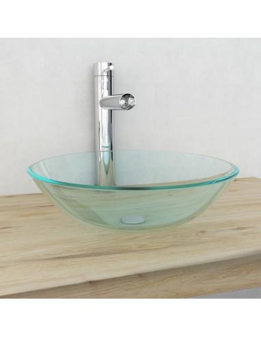 Praustuvas iš grūdinto stiklo, 42 cm, skaidrus   Vonios praustuvai   duodu.lt