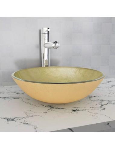 Praustuvas iš grūdinto stiklo, 42 cm, aukso spalvos | Vonios praustuvai | duodu.lt