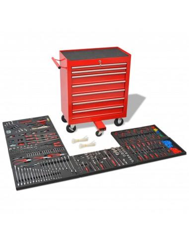 Dirbtuvės įrankių vežimėlis su 1125 įrankiais, plienas, raudonas   Įrankių Dėžės   duodu.lt