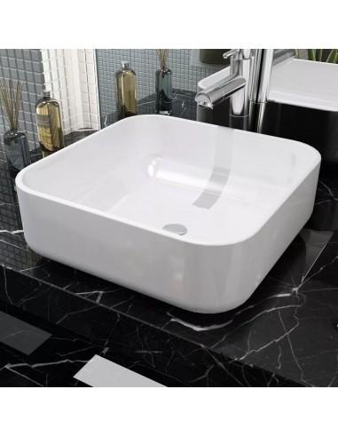 Praustuvas, kvadratinis, keramika, balta, 38x38x13,5 cm | Vonios praustuvai | duodu.lt