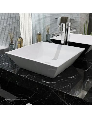 Praustuvas, kvadratinis, keramika, baltas, 41,5x41,5x12 cm   Vonios praustuvai   duodu.lt