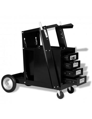 Vežimėlis suvirinimo aparatui su 4 stalčiais, juodas   Įrankių Spintos ir Dėžės   duodu.lt