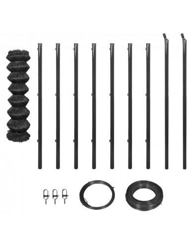 Tinklinė tvora su stulpais ir įreng. priedais, 1,5x15 m, pilka | Tvoros Segmentai | duodu.lt