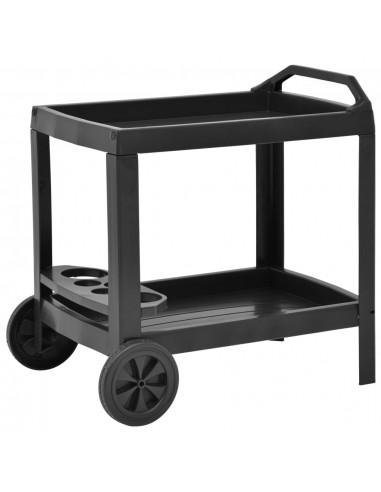 Gėrimų vežimėlis, antracito spalvos, 69x53x72cm, plastikas   Virtuvės ir Valgomojo Staliukai ant Ratukų   duodu.lt