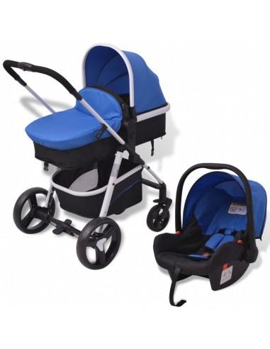 3-in-1 Vaikiškas sulankstomas vežimėlis, aliuminis, mėl./juodas | Kūdikių Vėžimėliai | duodu.lt