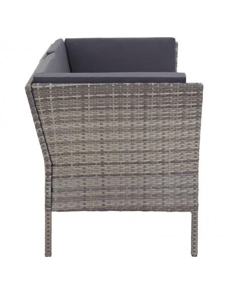 Trivietė sodo sofa iš palečių, pilkos spalvos, mediena | Lauko Sofos | duodu.lt