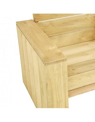 Trivietė sodo sofa iš palečių su smėlio pagalvėmis, mediena  | Lauko Sofos | duodu.lt