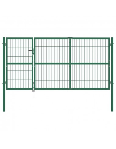 Sodo vartai, kiemo tvora, su stulp., 350x140 cm, plienas, žali   Vartai   duodu.lt
