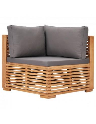 Kampinė sodo sofa iš palečių su antracito pagalvėmis, mediena  | Lauko Sofos | duodu.lt