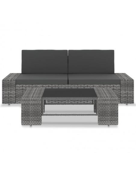 Kampinė sodo sofa iš palečių su gėlėtomis pagalvėmis, mediena  | Lauko Sofos | duodu.lt