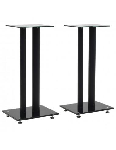 Garsiak. stovai, 2vnt., grūd. stiklas, 2 kolon. diz., juod. sp. | Garsiakalbių laikikliai ir stovai | duodu.lt