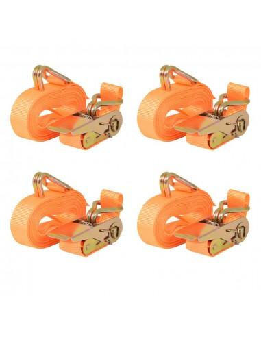 Reketo tvirtinamieji dirželiai 4vnt., 0,4t., 6mx25mm, oranž. sp. | Krovinių tvirtinimo diržai | duodu.lt