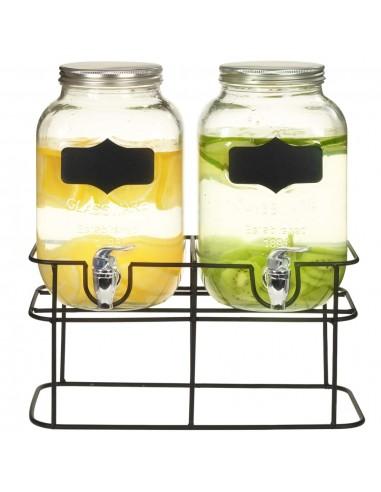 Gėrimų dozatoriai su stovais, 2 vnt., 2 x 4 l, stiklas | Talpos gėrimams | duodu.lt