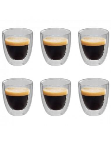 Dvigubos sienelės termo stiklinės espresso kavai, 6vnt., 80ml | Kavos ir Arbatos Puodeliai | duodu.lt