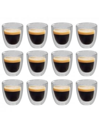 Dvigubos sienelės termo stiklinės espresso kavai, 12vnt., 80ml | Kavos ir Arbatos Puodeliai | duodu.lt