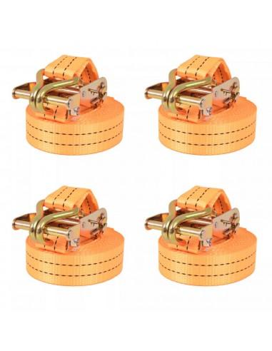 Reketo tvirtinamieji dirželiai, 4vnt., 1t., 6mx38mm, oranž.   Krovinių tvirtinimo diržai   duodu.lt