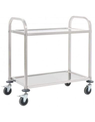 Virtuvės vežimėlis, 107x55x90cm, nerūd. plienas, dviaukštis | Virtuvės ir Valgomojo Staliukai ant Ratukų | duodu.lt