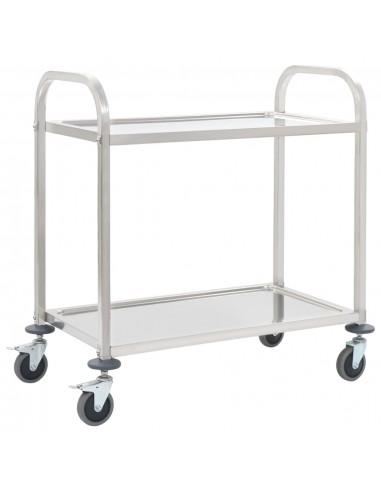 Virtuvės vežimėlis, 87x45x83,5cm, nerūd. plienas, dviaukštis | Virtuvės ir Valgomojo Staliukai ant Ratukų | duodu.lt