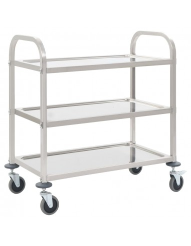 Virtuvės vežimėlis, 107x55x90cm, nerūd. plienas, triaukštis   Virtuvės ir Valgomojo Staliukai ant Ratukų   duodu.lt