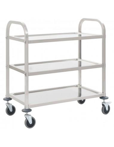 Virtuvės vežimėlis, 87x45x83,5cm, nerūd. plienas, triaukštis | Virtuvės ir Valgomojo Staliukai ant Ratukų | duodu.lt