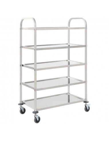 Virtuvės vežimėlis, 107x55x147cm, nerūd. plienas, penk. aukštų   Virtuvės ir Valgomojo Staliukai ant Ratukų   duodu.lt