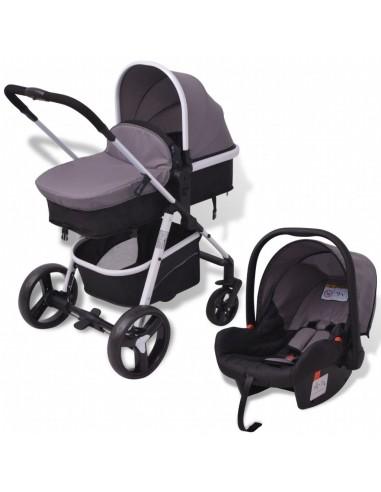 3-in-1 Vaikiškas sulankstomas vežimėlis, aliuminis, pilkas/juodas   Kūdikių Vėžimėliai   duodu.lt