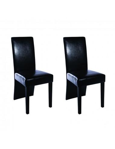 Valgomojo kėdės, 2 vnt., dirbtinė oda, juodos    Virtuvės ir Valgomojo Kėdės   duodu.lt