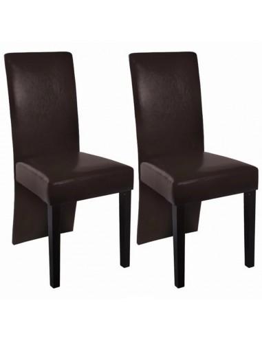 Valgomojo kėdės, 2 vnt., dirbtinė oda, tamsiai rudos    Virtuvės ir Valgomojo Kėdės   duodu.lt