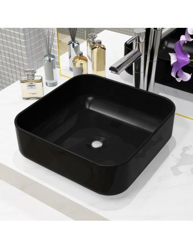 Praustuvas, kvadratinis, keramika, juodas, 38x38x13,5 cm   Vonios praustuvai   duodu.lt