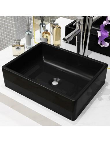 Praustuvas, keramika, stačiakamp. formos, juodas, 41x30x12cm   Vonios praustuvai   duodu.lt