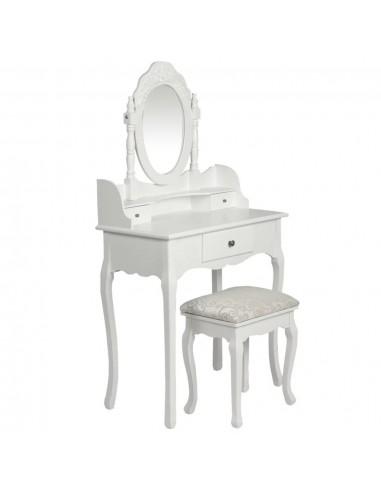 Kosmetinis staliukas su veidrodžiu ir kėdute, baltos spalvos    Miegamojo Spintelės   duodu.lt