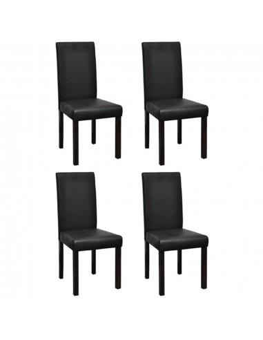 Valgomojo kėdės, 4 vnt., dirbtinė oda, juodos   Virtuvės ir Valgomojo Kėdės   duodu.lt