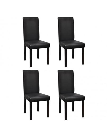 Gembinės valgomojo kėdės, 6vnt., juodos, dirbtinė oda | Virtuvės ir Valgomojo Kėdės | duodu.lt